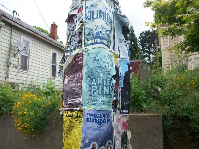 Electric pole papered over in Portland, Oregon neighborhood.