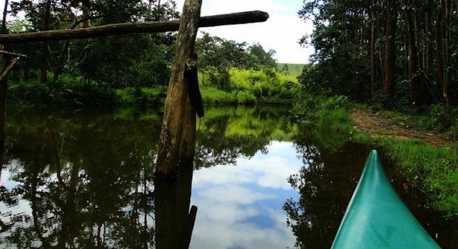 The boat to Lemur Island, near Andasibe.