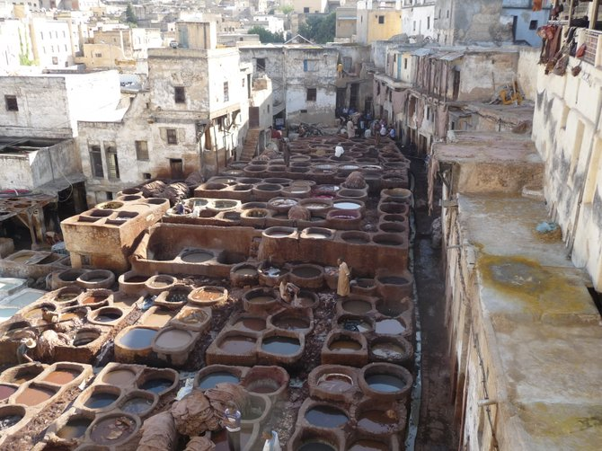 Tannery dye pits in Fes
