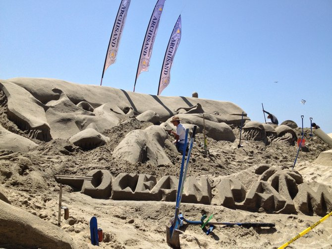 Giant sand sculpture at the Carlsbad Beach Fest 2013