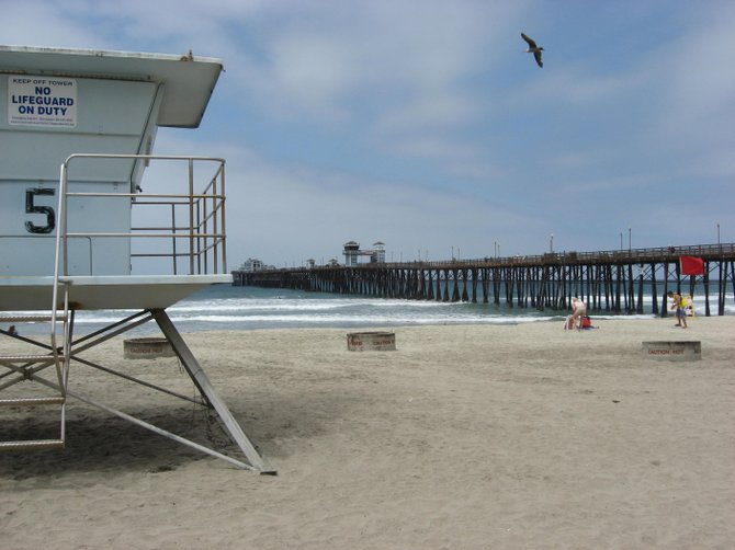 Summer is here!.  Lifeguard tower and pier, Oceanside.