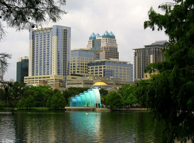 Downtown Orlando skyline from Lake Eola Park