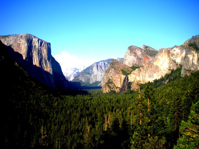 Classic Yosemite shot of the valley and Bridalveil Falls.