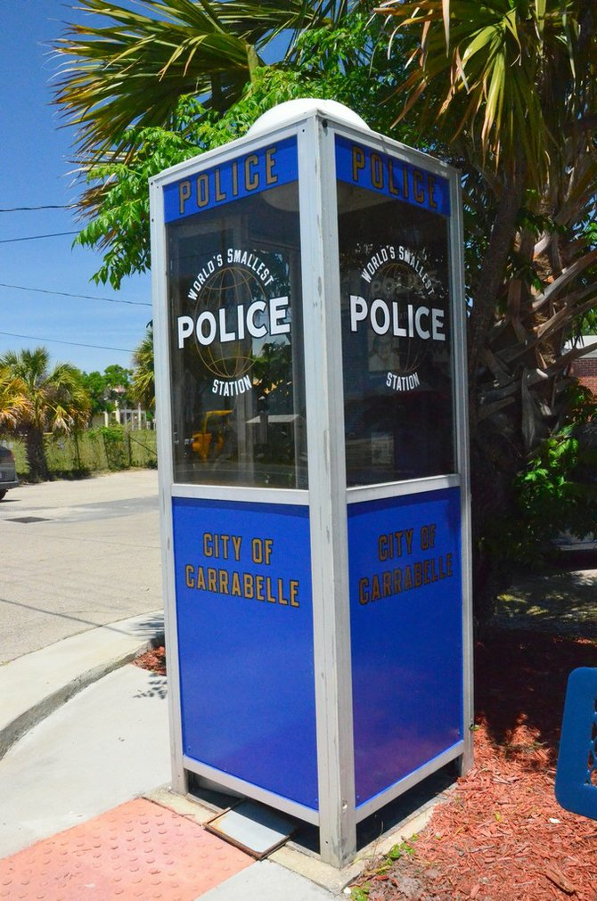 The self-proclaimed World's Smallest Police Station in Carrabelle.