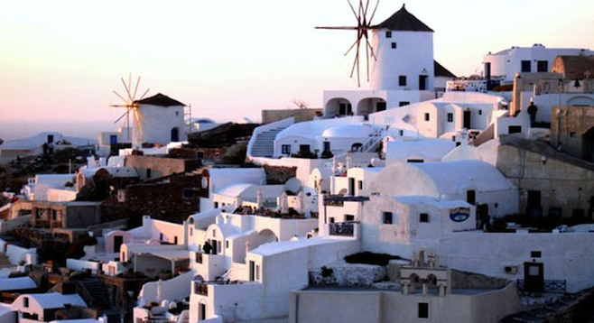 Classic Greek Islands shot: the white-washed buildings of Santorini.