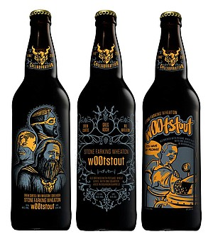Three separate sets of bottle art have been created for Drew Curtis/Wil Wheaton/Greg Koch Stone Farking Wheaton w00tstout.