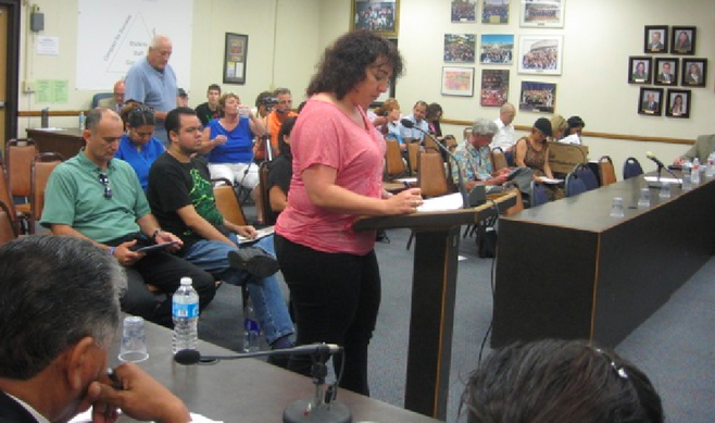 Maty Adato addresses the board at the May 13, 2013, Sweetwater Union High School District meeting