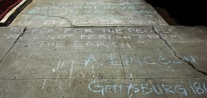 Lincoln's words in chalk