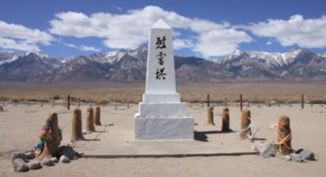 Manzanar memorial, snow-capped Sierras in the background.