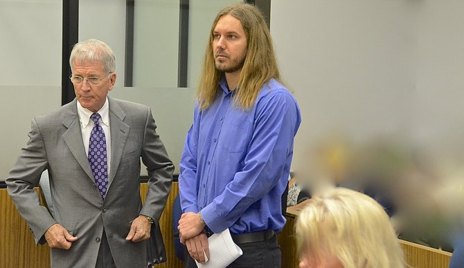 Def attorney Warwick w Tim Lambesis. Photo Weatherston.