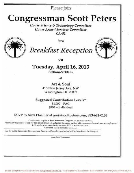 DCCC Rep. Peters fundraiser invite