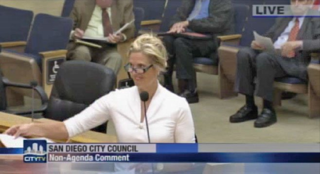 Ann Romney appearing before city council on Tuesday, June 18, 2013.