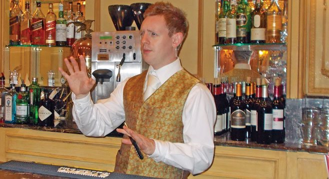 """Bartender Ian is from Glasgow, Scotland, """"so it's a pleasurable struggle trying to work out what he's saying."""""""