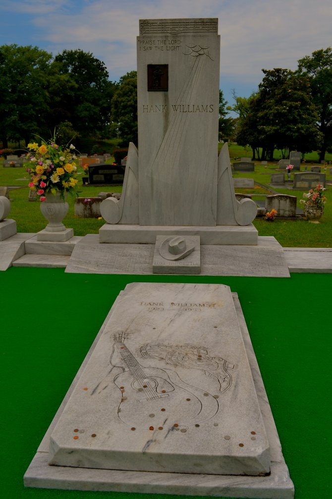 The grave site of Hank Williams Senior in Montgomery, Alabama.