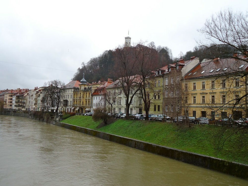 The Ljubljanica runs through the middle of town.