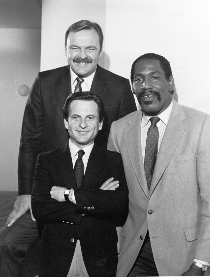 """""""DICK, BUBBA AND JOE JOIN FORCES -- Football greats Dick Butkus (left) and Bubba Smith (right) join Oscar nominee Joe Pesci (""""Raging Bull"""") in NBC-TV's new, light-hearted action-drama series """"Half-Nelson"""" premiering Friday, March 29 (9-10 p.m. NYT)."""""""