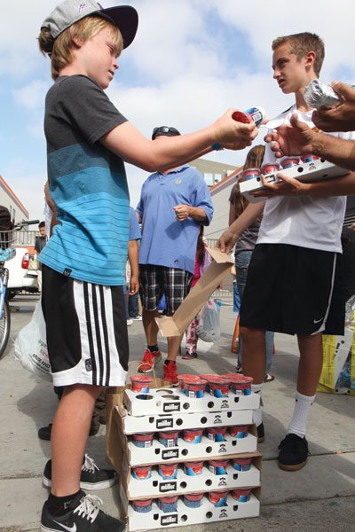 11-year-old Grant Peeleman got the San Diego County Fair to donate several hundred yogurts for his homeless clients.