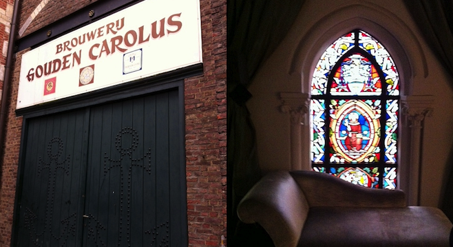 Mechelen's Gouden Carolus brewery (left); chapel-turned-hotel Martin's Patershof  (right).