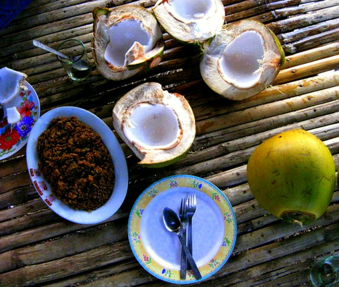 Coconuts are served at most Bohol restaurants.