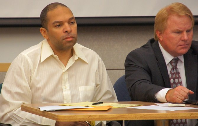Louis Perez n defense atty Jeff Reichert. Photo Weatherston.