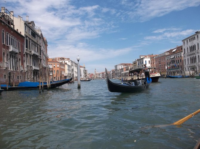 View of Venice's Grand Canal from a traghetto