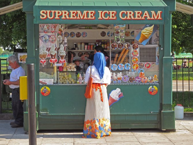 Ice cream stand in London.