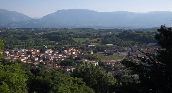 Postcard view of Conegliano and surrounding valley.