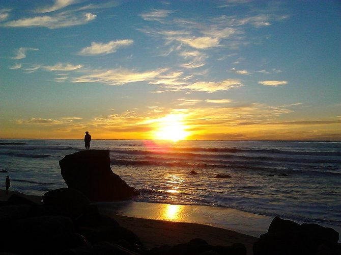Sunset from the Sanra Cruz Ave. Lookout, Ocean Beach rocks.