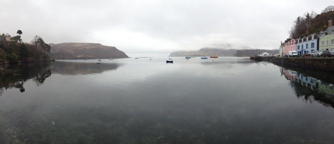 Portree Harbour, Isle of Skye. Breakfast on the stillest water on earth.