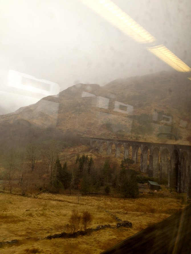 "The Glenfinnan Viaduct crossing. ""I think we found the train"" -Ron Weasley"