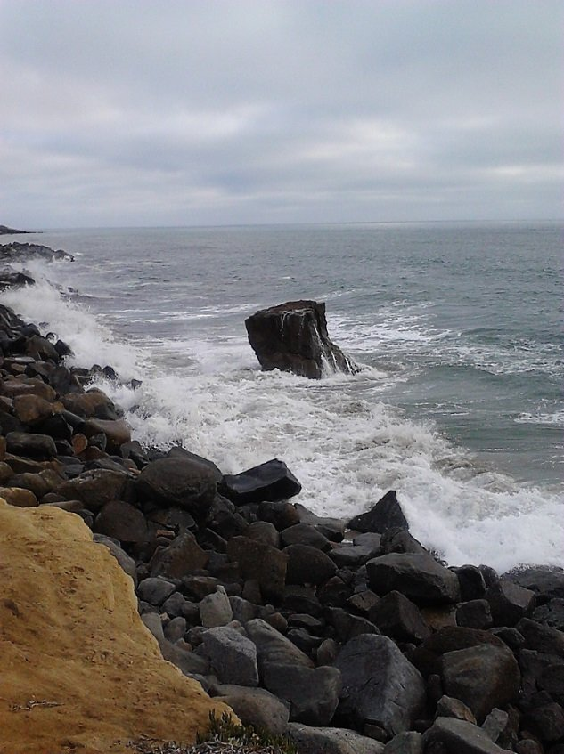 """Peter's Rock""  A fascinating rock off Sunset Cliffs at the end of Santa Cruz Ave. look out. I don't know if this rock has a name so I named it ""Peter's Rock.""  Photo taken by me on July 7, 2013."