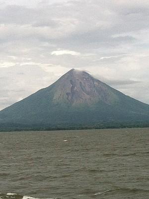 Approaching Ometepe by ferry.