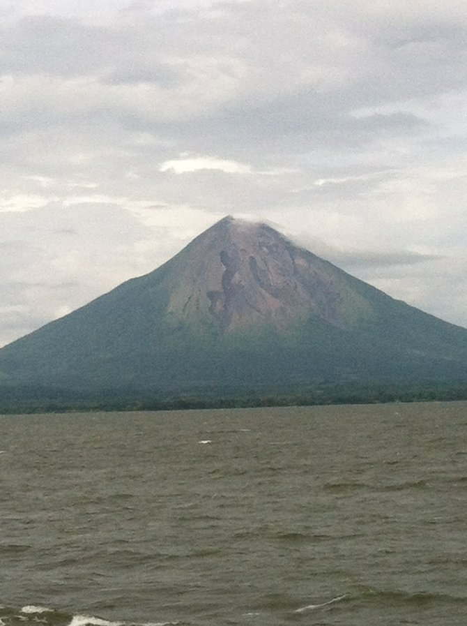 Approaching Ometepe by ferry.