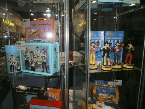 A close up of the reproduction Beatles lunch box and Yellow Submarine toys. Photo by Bart Mendoza