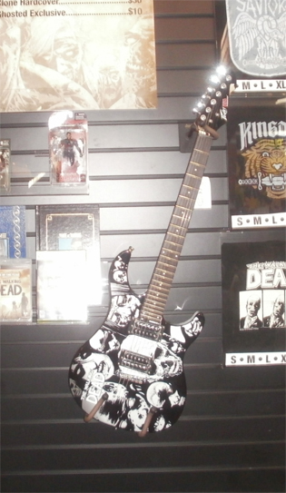 Guitars with logos on them were a popular item this year. Here's one for the Walking Dead. Photo by Bart Mendoza.