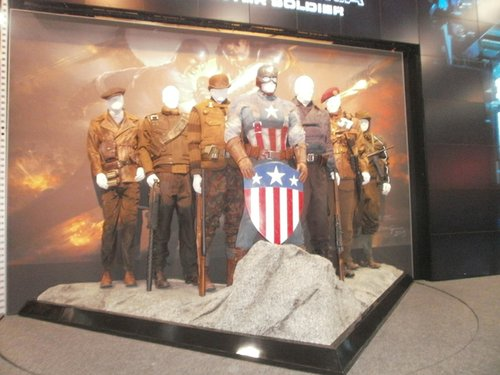 The Marvel Comics booth included this display of cotumes from the movie Captain America. Photo by Bart Mendoza.