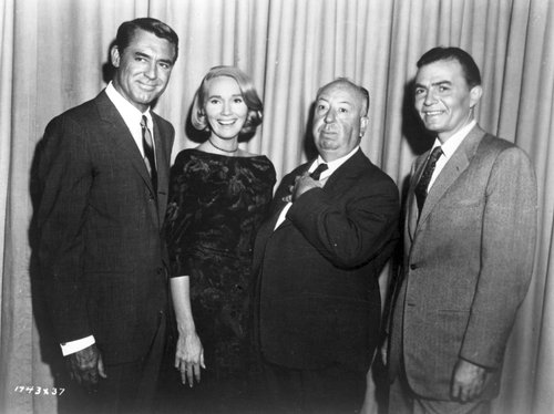 Cary Grant, Eva Marie Saint, Alfred Hitchcock, and James Mason.