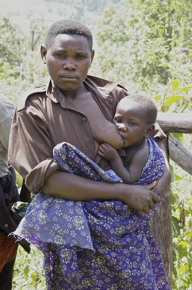 Batwa mother and baby.