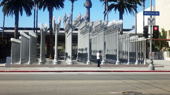 This installation of 200+ old streetlights is called Urban Light. It's at the Los Angeles County Museum of Art on Wilshire Blvd.