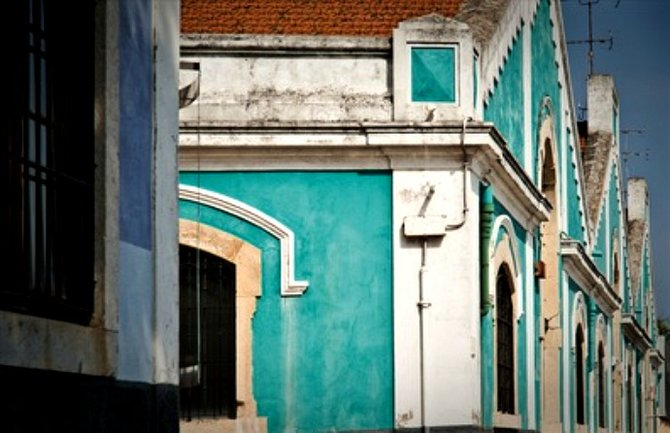 Turquoise Buildings in Belem Neighborhood