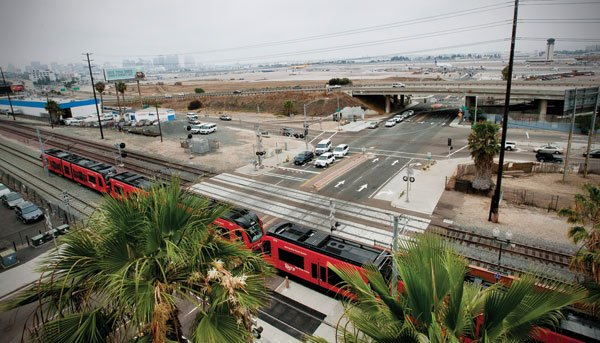 View of airport overlooking Washington Street trolley station