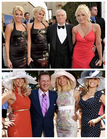 Above: tired 87-year-old Hugh Hefner, swimming in a bland tuxedo, barely kept upright by a trio of disinterested blondes. Below: vibrant 70-year-old Doug Manchester, absolutely rocking the purple stripes, warmly embracing a trio of enthusiastic blondes.