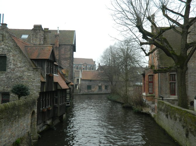 "Canal in Bruges, the ""Venice of the North."""