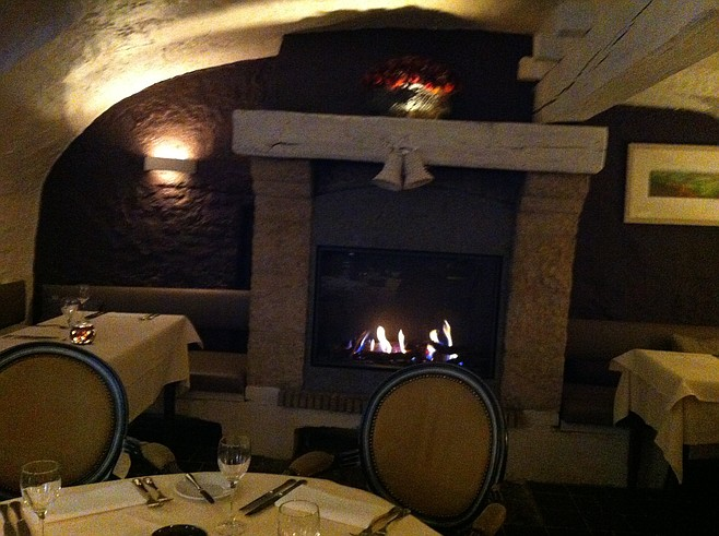 Cellar dining in Bruges's Restaurant Malpertuus.