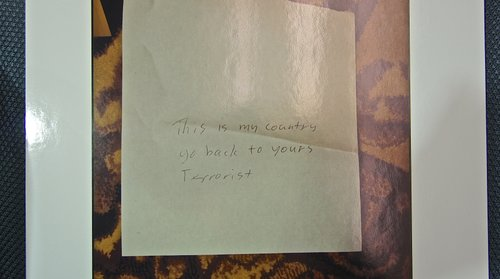 Investigators say the note is a photocopy.  Evidence pic.
