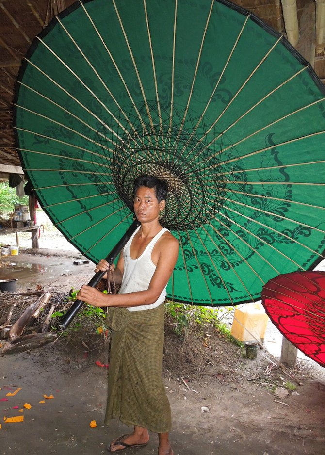 Traditional Burmese Parasol Workshop, Pathein, Myanmar (Burma)