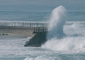the breakwater provides protection from the surf.