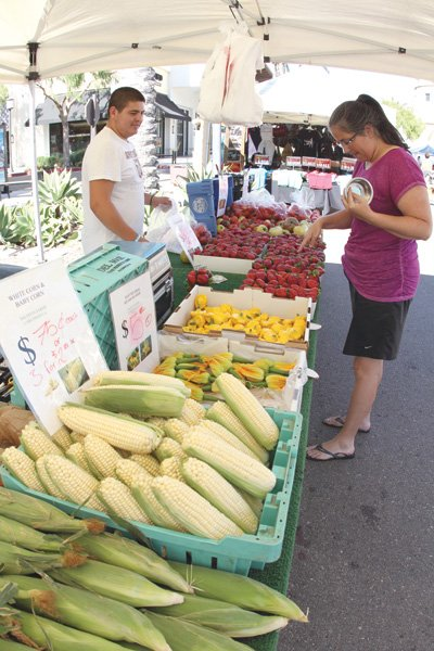 """The farmers' market in the Otay Ranch mall.  Irene (and many Yelpers) complain that the one or two """"token farmers"""" are not enough to call it a true farmers' market."""