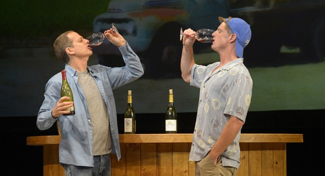 Breen (left) swallows so many fluids in the two-and-a-half hour show, you fear for his health.