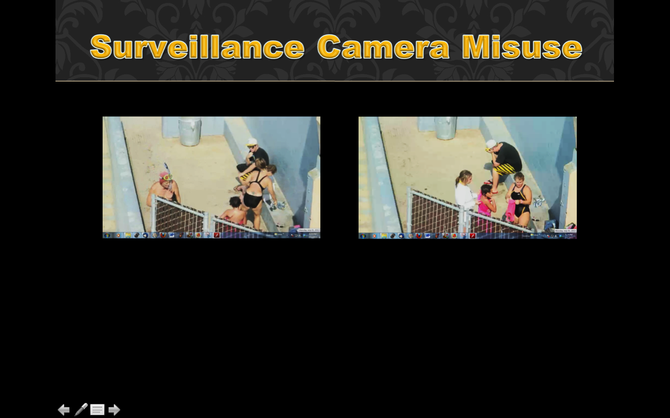 Women followed into the showers, teens honed in on, swimmers targets and hassled, and you are going to pay for this peep show piped into private offices?  This is wrong and this camera should be turned off and investigated.  Tourists are complaining too.  Creepy Peep show.